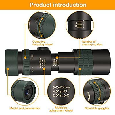 Monocular Telescope, SGODDE 8-24X30 Zoom Telescope,Dual Focus Monocular Scopes- High Power, Waterproof, Night vision, BAK4 Prism Lens with Smartphone Adapter & Tripod for Bird Watching Hunting Hiking