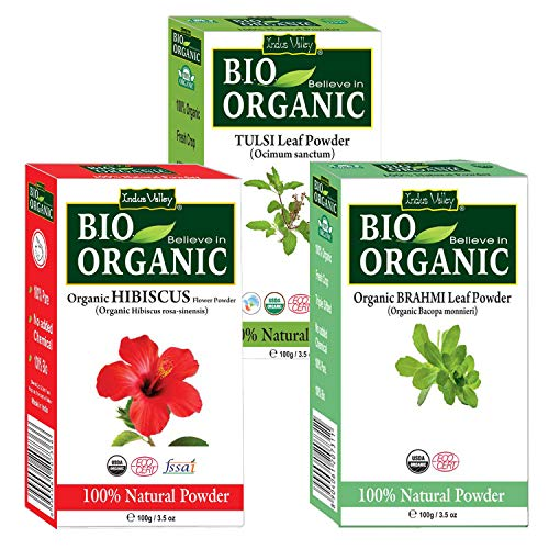 Indus Valley Organic Hibiscus Powder For Hair Care (Hibiscus + Brahmi + Tulsi Powder)