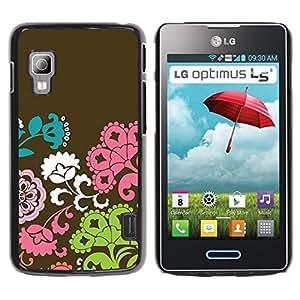 TopCaseStore / la caja del caucho duro de la cubierta de protección de la piel - Flowers Pattern Brown Pink Green - LG Optimus L5 II Dual E455 E460