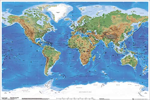 Satellite Physical Map of The World Poster 36 x 24in
