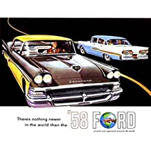 BEAUTIFUL, FULLY ILLUSTRATED 1958 FORD PASSENGER CAR DEALERSHIP SALES BROCHURE - ADVERTISMENT Includes Custom Series, Custom 300 & Fairlaine Series, Fairlane 500 - Wagons, Convertible - 55