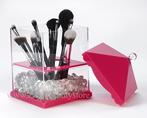 Zahra Beauty Brush Holders Penthouse- Acrylic Brush Holders are Available.Patent Pending Rose hot Pink