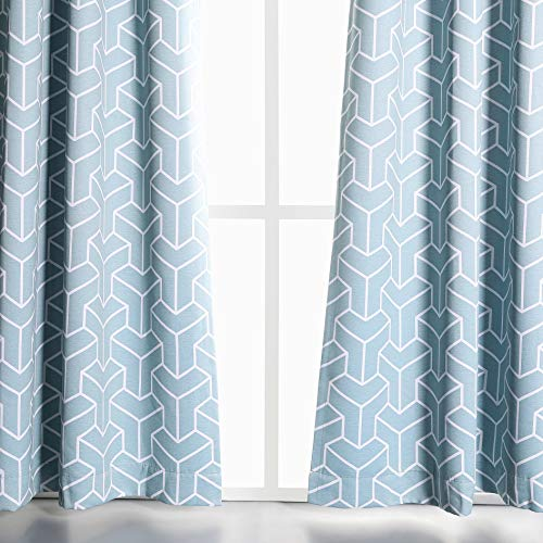 (MYSKY HOME Print Blackout Curtains 95 Inch Long for Living Room Geometric Lines Pattern Window Treatment Set for Bedroom (Aqua, 52