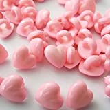 """Fancy & Decorative {10mm w/ 1 Back Hole} 20 Pack of Small Size """"Alpha Shank"""" Sewing & Craft Buttons Made of Acrylic Resin w/ Glossy Smooth 3D Heart Puff Shape Valentine Love Design {Pink Color}"""