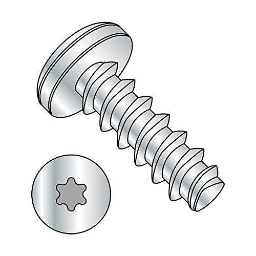"""Steel Thread Rolling Screw for Plastic, Zinc Plated, Pan Head, Star Drive, #3-24 Thread Size, 3/8"""" Length (Pack of 100)"""