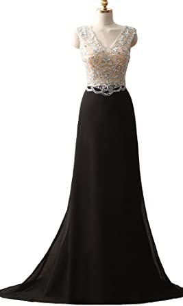 QSYE Womens V-Neck Beaded Prom Dresses Chiffon Long Evening Formal Gowns Mermaid Black,