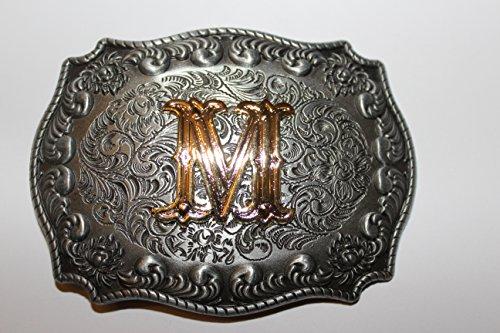 Buckle Gürtelschnalle Koppel Initialen Buchstabe M mit echter Goldauflage