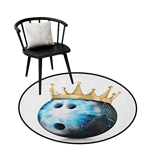 Home Decor Circle Area Rug Bowling Party,Crown on Artistic Ball Bowling King Champion Victory Theme Print, Sky Blue Black Gold,Round Entryway Rug Floor Mats Welcome Mat Living Room Rug 24
