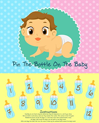 Adorox Baby Shower Party Game Pin The Bottle or Pacifier on The Baby Poster 1pkg Pin The Bottle 1 pk