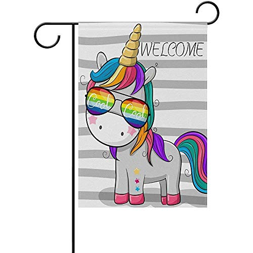 - Welcome God Unicorn Star Rainbow Garden Flag 12 X 18 Large Inches, Double Sided Outdoor Yard Yall Garden Flag for Wedding Party House Home Decor