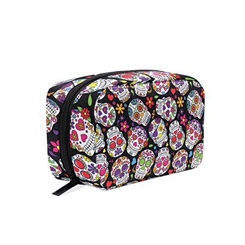 ALAZA Day Of The Dead Sugar Skull Cosmetic Bag Black Zipper Storage Bag Portable Ladies Travel Square Makeup Brushes Bag for $<!--$12.99-->