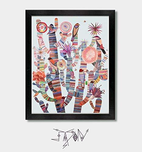 Modern Tribes - by Artist Jason Smith - Mexican, Arizona, Southwest Art, Cactus Decor, Cactus Print, Brid Prints, Mexican Folk Art, Arizona Print, New Mexico, Texas, Nevada, Southwestern Decor, Mexico