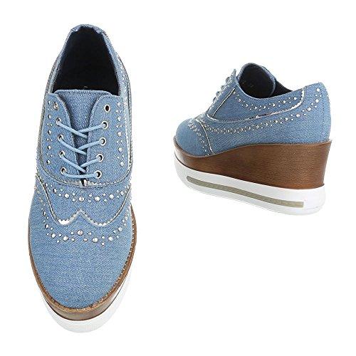 Ital-Design - Zapatos Planos con Cordones Mujer azul claro