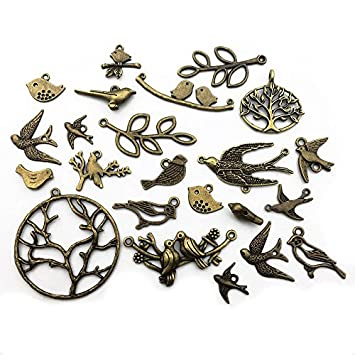 Tibetan Silver 2 10 Birds Branch Pendant Charms Jewellery Findings UK STOCK