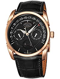 Tonda Annual Calendar Mens Rose Gold Automatic Watch - 40mm Analog Black Face with Day, Date, Month, and Moon...