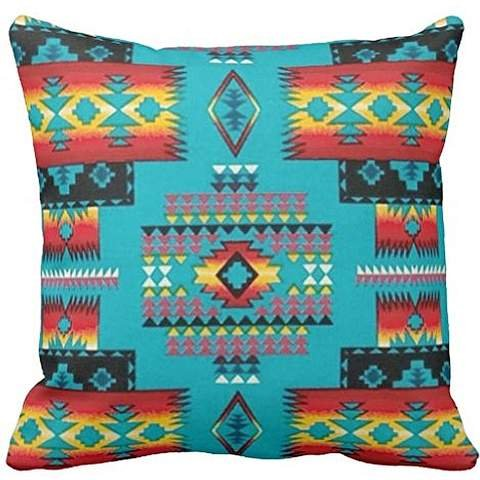 Native American Indian, Western Turquoise Print pillow case