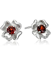 Sterling Silver Gemstone and Diamond Accent Flower Stud Earrings