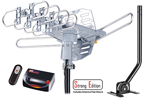 pingbingding HDTV Antenna Amplified Digital Outdoor Antenna with Mounting Pole--150 Miles Range--360 Degree Rotation Wireless Remote--Snap-On Installation Support 2 TVs