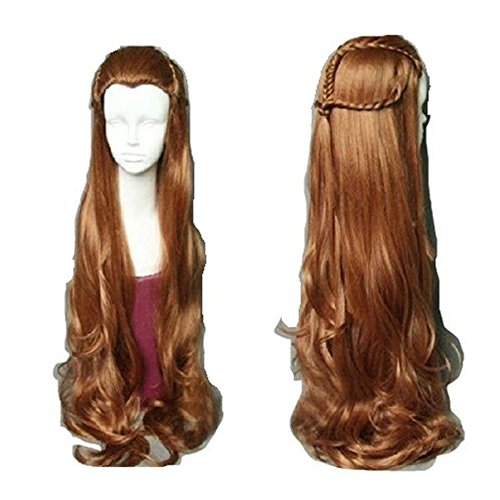 Tauriel Elf Costumes (Mainlead Hobbit Elf Tauriel Wig Hair Costume Brown Wavy Cosplay Wig)