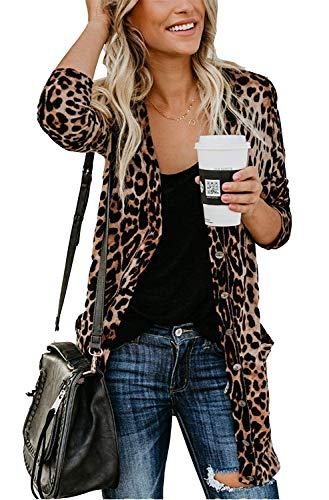 Leopard Long Cardigan Shirt Cheetah Coat for Women Cardigans with Pockets 2XL Plus Cardigans for Ladies