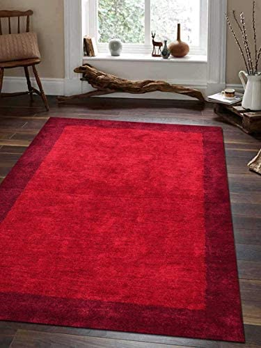 Rugsotic Carpets Hand Knotted Gabbeh Silk 9 x12 Area Rug Solid Red LS0201