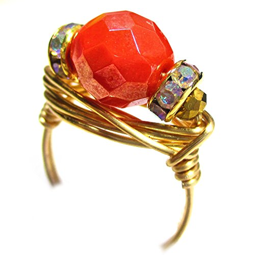 Coral Shimmer Czech Art Glass Gold Wire Wrap Ring