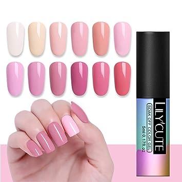 864a69ff06 LILYCUTE 5ml Nail Gel Polish Soak Off UV Gel Polish Living Coral Pink Nude  Series Set Nail Art Gel...