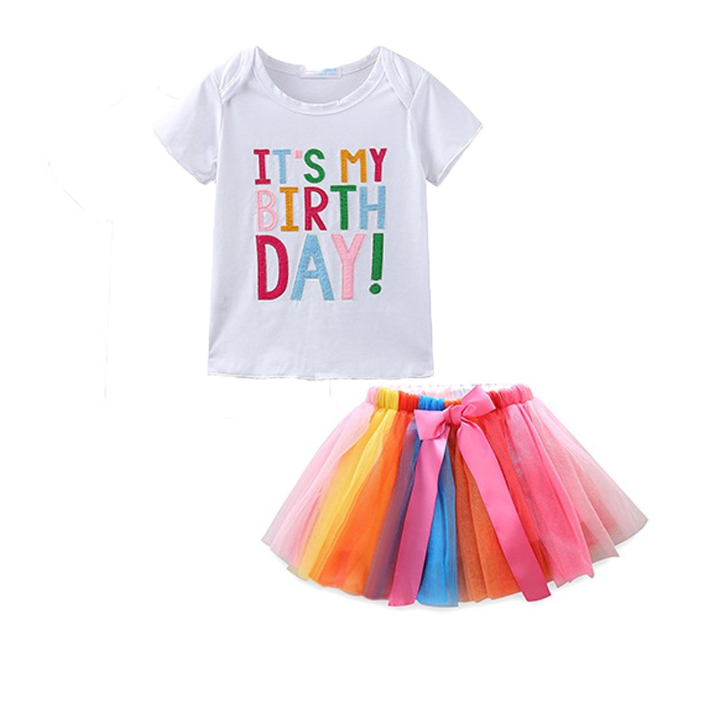 elebaby® Baby Girls It's My 1st/2nd/3rd Birthday Tutu Outfit Toddler Cake Smash Party Skirt Set Kids Short Sleeve Printed Cotton Shirt Tops + Rainbow Ballet Tulle Dress