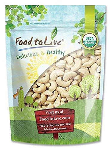 Organic Cashews, 2 Pounds - Whole, Size W-240, Unsalted, Non-GMO, Kosher, Raw, Vegan, Bulk