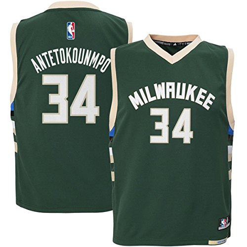 Giannis Antetokounmpo #34 Milwaukee Bucks Youth Road Jersey Green (Youth Medium 10/12) - Gold Swingman Basketball Jersey