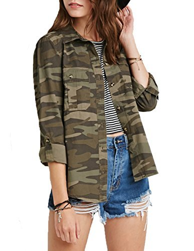 Richlulu Womens Causal Woodland Camouflage Print Ourdoor Cotton Jacket Camo Coat(M,Camouflage) ()