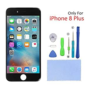 iPhone 8 plus Screen Replacement LCD Display Touch Screen Digitizer Full Assembly Set with Free Tools and 3D Touch 5.5 Inch (Black)