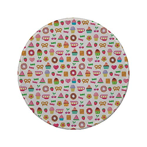 Non-Slip Rubber Round Mouse Pad,Tea Party,Sweets Candies Cookies Fruit and Other Cute Things Festive Cheerful Collection Decorative,Multicolor,7.87