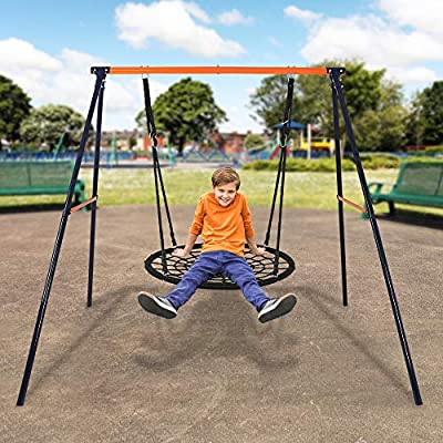 SUPER DEAL Extra Large Heavy Duty All-Steel All Weather A-Frame Swing Frame Set Metal Swing Stand, 72