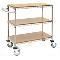 Kitchen Cart With 3 Shelves Soft Silver Steel Wire - 48 L x 24 W x 39 1/2 H