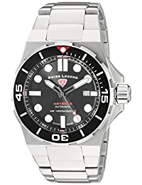 Swiss Legend Men's 'Abyssos' Stainless Steel and Silicone Automatic Watch, Silver-Toned (Model: 10062A-11-SM-W)