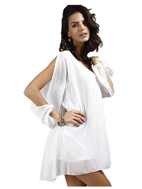 BB67 Mini Dress|Womens Casual Long Sleeve White Ladies Party Evening Cocktail Short Mini Dress