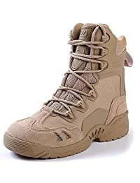 ESDY Men Tactical Boots 7.5 Inch Leather Desert Combat Military Boots with Zipper