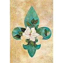 Teal Fleur-de-lis Magnolia Brushed Neutral 30 x 44 Rectangular Large House Flag