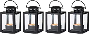 Nuptio Lanterns for Candles Garden Lanterns, 4 Pcs Vintage Style Hanging Small Lanterns for Tealight Candle, Black Candle Tea Light Holders for Indoor Outdoor Events Birthday Party Wedding