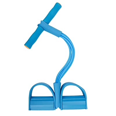 Multifunction Leg Exerciser Elastic Training 4-Tubes Pull Rope Sit-up Training, Elastic Pull Rope Fitness Equipment, for Abdomen, Waist, Arm, Yoga Stretching, Blue: Toys & Games