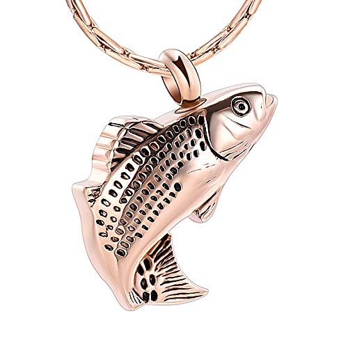 constanlife Cremation Jewelry for Ashes Stainless Steel Fish Shape Design Memorial Urn Necklace Keepsake Jewelry Gift Men Women Multifunction Necklace (Rose Gold) (Steel By Design Jewelry)