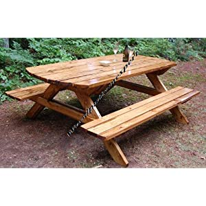 Build Your Own Wood PICNIC TABLE Family Size Park Style Indoor or Outdoor Standard 7' with Attached Benches Pattern DIY PLANS; So Easy, Beginners Look ... PDF Download Version so you can get it NOW!