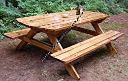 build your own wood picnic table family size park style indoor or outdoor standard 7u0027 - Wood Picnic Table