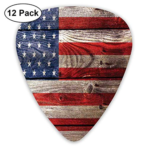 (Guitar Picks - Abstract Art Colorful Designs,Fourth Of July Independence Day Weathered Retro Wood Wall Looking Country Emblem,Unique Guitar Gift,For Bass Electric & Acoustic Guitars-12 Pack)