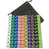 YUTIOR 100 Dice Set 10 Different Colors-16MM FREE Velvet Carry Bag