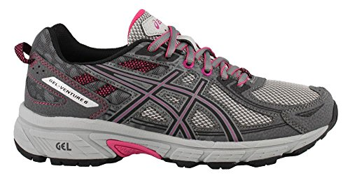 ASICS Women's Gel-Venture 6 Running-Shoes,Carbon/Black/Pink Peacock,8.5 D US