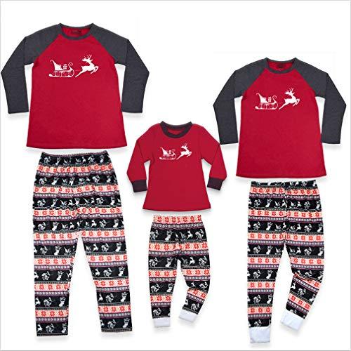 sleeve shirt matching mother grey sleepwear clothing pants baby pattern family kid red pyjamas for xmas