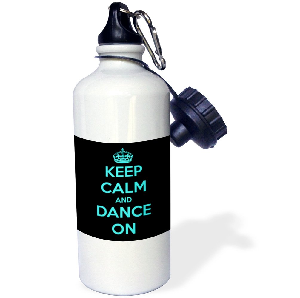 3dRose wb_163926_1 Keep Calm and Dance On, Black and Turquoise Sports Water Bottle, 21 oz, White