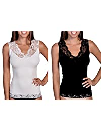 Body Beautiful Women's Shapewear Seamless V-Neck Light Slimming Cami with Lace Neck & Trim.